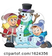 Children Making A Snowman by visekart