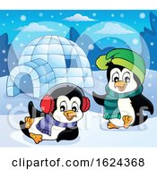 Penguins Playing By An Igloo