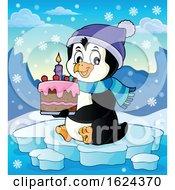 Penguin Holding A Birthday Cake