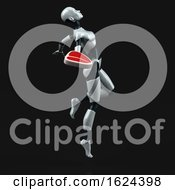 Poster, Art Print Of 3d Feminine Robot On A Black Background