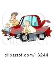 Little Boy Holding His Teddy Bear And Standing By A Worried Woman Sratcing Her Forehead And Watching As A Man Her Husband Or Stranger Changes The Flat Tire On Her Car Clipart Illustration Graphic by djart
