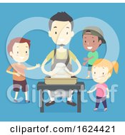 Kids Man Pottery Learning Illustration