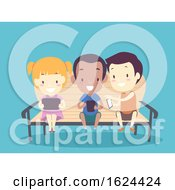 Kids Playing Smart Phone Illustration