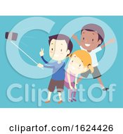 Kids Smart Phone Selfie Illustration