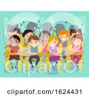 Poster, Art Print Of Stickman Kids Classroom Raise Hands Illustration