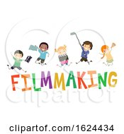 Stickman Kids Film Making Illustration