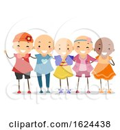 Stickman Kids Girls Alopecia Illustration