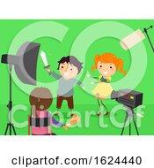 Stickman Kids Green Screen Filming Illustration