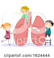 Poster, Art Print Of Stickman Kids Lung Puzzle Illustration