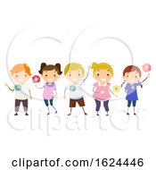 Stickman Kids Majblomma Pins Illustration