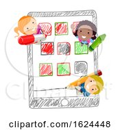 Stickman Kids Mobile Apps Drawing Illustration