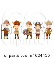 Stickman Kids Viking Outfit Illustration