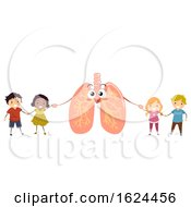 Poster, Art Print Of Stickman Kids With Lungs Illustration