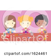 Kids Girls Dolls Desk Illustration