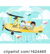 Poster, Art Print Of Kids Student Aviator School Plane Illustration