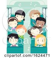 Poster, Art Print Of Kids Student Sing School Bus Illustration