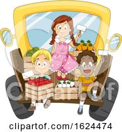 Kids Truck Sell Fruits Vegetables Illustration