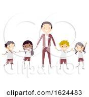 Poster, Art Print Of Stickman Kids Teacher Uniform Illustration