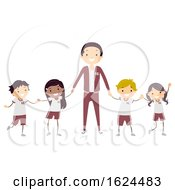 Stickman Kids Teacher Uniform Illustration