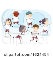 Stickman Kids Uniform Play Running Illustration