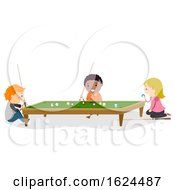 Poster, Art Print Of Stickman Kids Play Mini Billiard Illustration