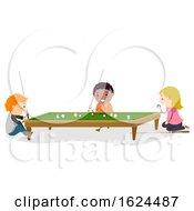 Stickman Kids Play Mini Billiard Illustration