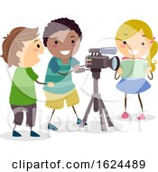Stickman Kids Recording Video Camera Illustration