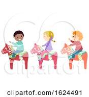 Stickman Kids Ride Wooden Horse Illustration