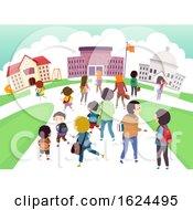 Poster, Art Print Of Stickman Kids Students School Level Illustration