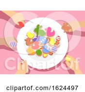 Kids Hands Plate Easter Party Treat Illustration
