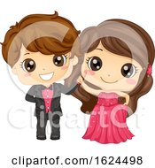 Kids Girl Boy Cotillion Ball Illustration
