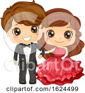 Kids Girl Boy School Prom Illustration