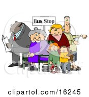 Old Lady Seated In A Chair At A Bus Stop Surrounded By A Group Of People Including A Man Reading A Newspaper Woman With Her Two Children And A Man Listening To An Mp3 Player Clipart Illustration Graphic
