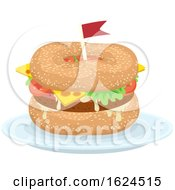 Canada Bagels Burger With Flag