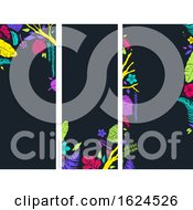 Stencil Tropical Banners Background Illustration
