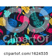 Stencil Tropical Flamingo Seamless Background