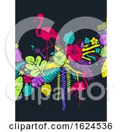 Stencil Flamingo Tropical Background Illustration