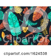 Tropical Leaves Seamless Background Illustration