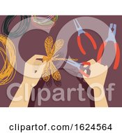 Poster, Art Print Of Hands Wire Craft Illustration