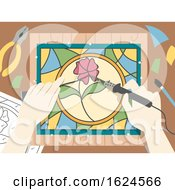 Poster, Art Print Of Hands Stained Glass Illustration
