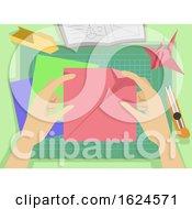 Poster, Art Print Of Hands Origami Making Illustration