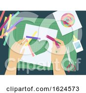 Poster, Art Print Of Hands Iris Folding Illustration