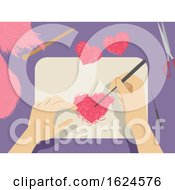 Poster, Art Print Of Hands Felting Illustration