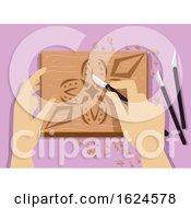 Poster, Art Print Of Hands Chip Carving Illustration