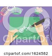 Hands 3D Drawing Illustration