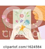 Poster, Art Print Of Hands Press Flower Illustration