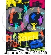 Colored People Street Party Illustration