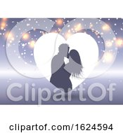 Poster, Art Print Of Silhouette Of A Kissing Couple In A Heart