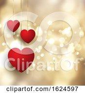 Poster, Art Print Of Valentines Day Background With Hanging Hearts On Bokeh Lights Design