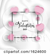 Poster, Art Print Of Valentines Day Background With Hearts On Marble Texture